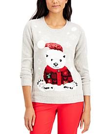 Embellished Polar Bear Sweater, Created for Macy's, Regular & Petite