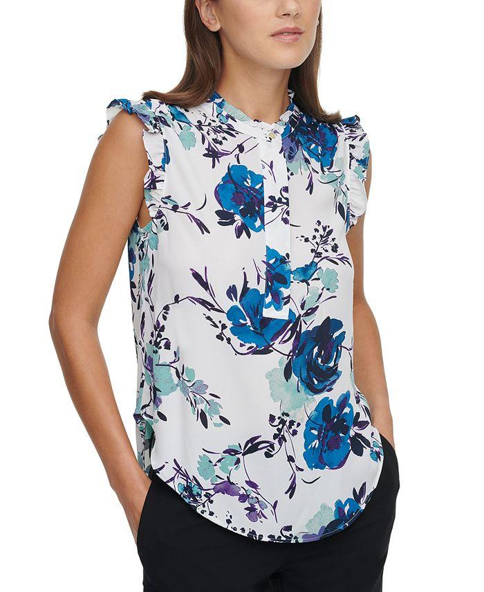 DKNY - Floral Sleeveless Blouse