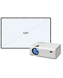 Mini Projector with Bluetooth and Projection Screen, PJ308VP