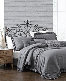 Davina Enzyme Ruffled 6 Piece Comforter Set, Twin