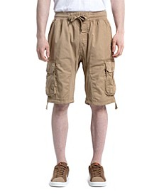 Men's Fine Twill Jogger Shorts with Cargo Pockets