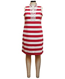 Split-Neck Ottoman Stripe Dress, Created for Macy's