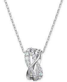 "Silver-Tone Crystal Intertwined Pendant Necklace, 14-7/8"" + 2"" extender"