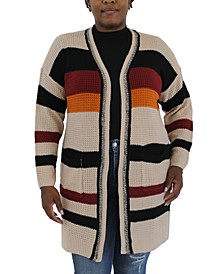 Trendy Plus Size Striped Cardigan Sweater