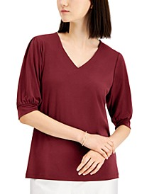 Puff-Sleeve V-Neck Top, Created for Macy's