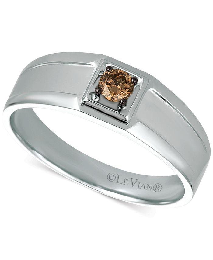 Le Vian - Men's Chocolate Diamond Ring (1/5 ct. t.w.) in 14k White Gold