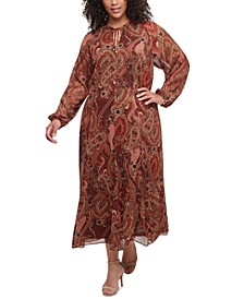 Plus Size Paisley-Print Maxi Dress