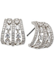 """Small Cubic Zirconia Caged J-Hoop Earrings, 0.62"""", Created for Macy's"""