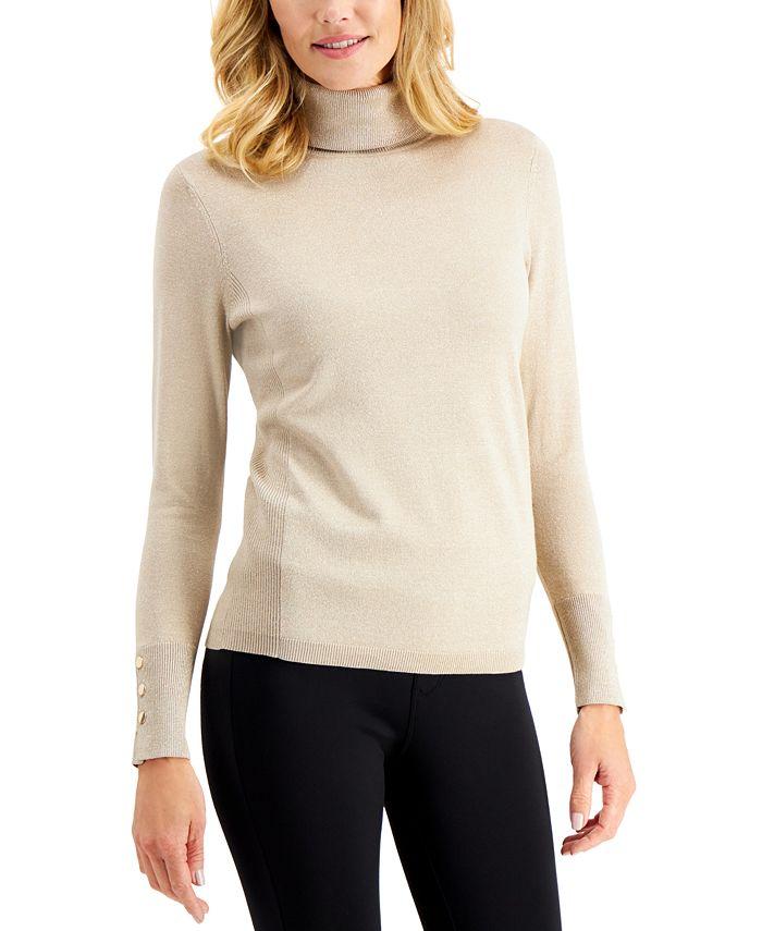 JM Collection - Metallic Turtleneck Sweater