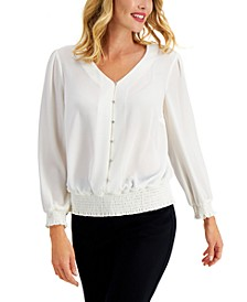 Smocked Button Blouse, Created for Macy's