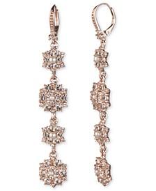 Rose Gold-Tone Imitation Pearl & Crystal Cluster Drop Earrings