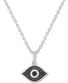 """Diamond Evil Eye Pendant Necklace (1/20 ct. t.w.) in Sterling Silver, 16"""" + 2"""" extender"""