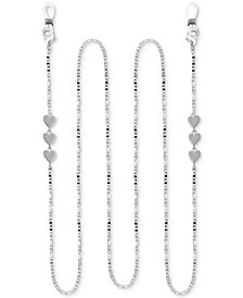 "Essentials Mariner Link Heart 25"" Glasses or Face Mask Chain in Fine Silver or Gold Plate"