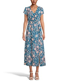 INC Printed Smocked-Waist Maxi Dress, Created for Macy's