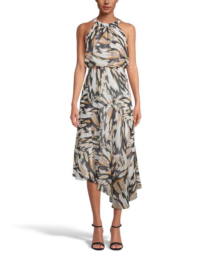 INC International Concepts - Printed Asymmetrical-Hem Dress