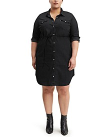 Trendy Plus Size Western Denim Shirtdress