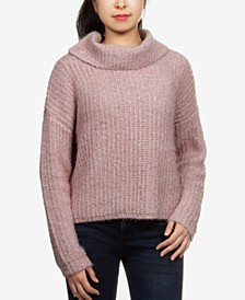 Juniors' Cowlneck Chenille Sweater