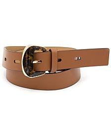 Faux-Tortoiseshell-Buckle Leather Belt