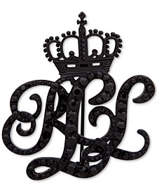 Black-Tone Pavé Crowned Logo Pin