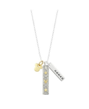 """Two-Tone Mickey Mouse """"Dream"""" Charm Pendant Necklace in Fine Silver Plate"""