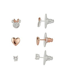 Two-Tone Minnie Mouse Earring Set with Heart and Bezel Cubic Zirconia Stud Earrings, Three Pair