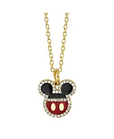 Gold-Tone Mickey Mouse Crystal Pendant Necklace