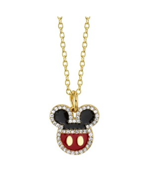 Gold-Tone Mickey Mouse Crystal Pendant Necklace in Fine Silver Plate