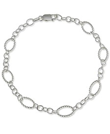 Textured Fancy Link Chain Bracelet in Sterling Silver, Created for Macy's
