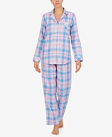 로렌 랄프로렌 잠옷 파자마 세트 Lauren Ralph Lauren Cotton Plaid Pajamas Set,Pink Pld