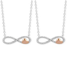 Hallmark Diamonds 2-Pc. Set Diamond Wear-One Share-One Infinity Pendant Necklaces (1/5 ct. t.w.) in Sterling Silver & 14k Rose Gold