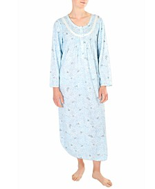 Printed Honeycomb Pointelle Long Nightgown