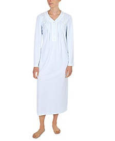 Plus Size Embroidered Long Nightgown