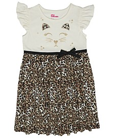 Little Girls Short Flutter Sleeve Leopard Print Ribbon Tutu Dress