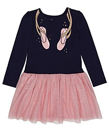 Toddler Girls Long Sleeve Graphic Tutu Dress