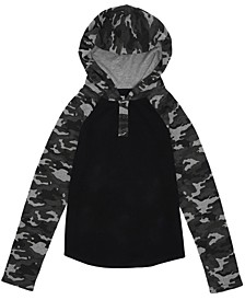 Big Boys Camo Sleeve Hooded Thermal Pullover