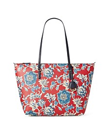 로렌 랄프로렌 Lauren Ralph Lauren Pebble Faux-Leather Keaton Tote,Maupiti Floral