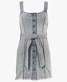 Juniors' Belted Denim Dress