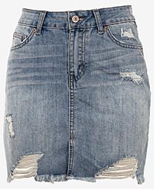 Juniors' Distressed Raw Hem Mini Skirt