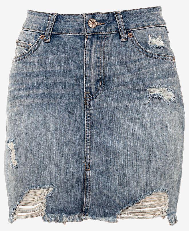Rewash Juniors' Distressed Raw Hem Mini Skirt