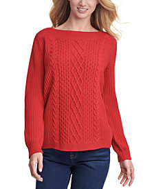 Tommy Hilfiger Cable-Knit Boat-Neck Sweater