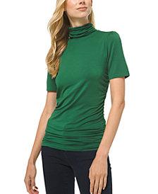 Michael Michael Kors Plus Size Solid Short-Sleeve Turtleneck Top