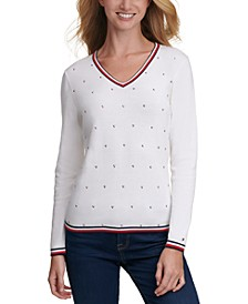 Embellished Cotton V-Neck Sweater