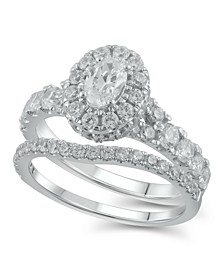 Diamond Halo Oval Bridal Set (2. ct. t.w.) in 14K White Gold