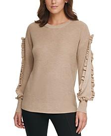 Ribbed Ruffle-Trim Sweater