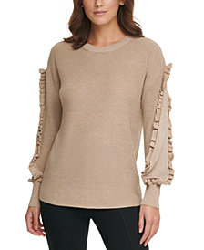 Calvin Klein Ribbed Ruffle-Trim Sweater