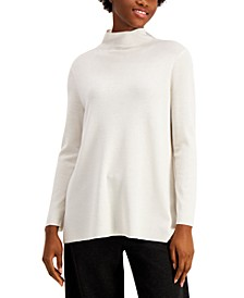 Solid Mock-Neck Asymmetrical Tunic Sweater
