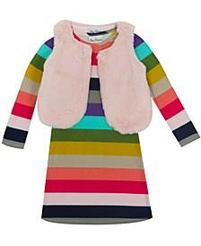 Little Girl Hacchi Dress With Faux Fur Vest