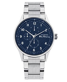 Men's Silver-Tone Stainless Steel Multifunction Watch, 41mm