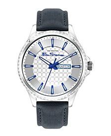 Men's Dark Blue Genuine Leather Strap Classic Three Hand Watch, 43mm