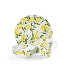 Lemons 16 Piece Dinnerware Set, Service for 4